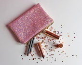 Bubblegum Pink Glitter Makeup Bag Light Pink Sparkly Bag