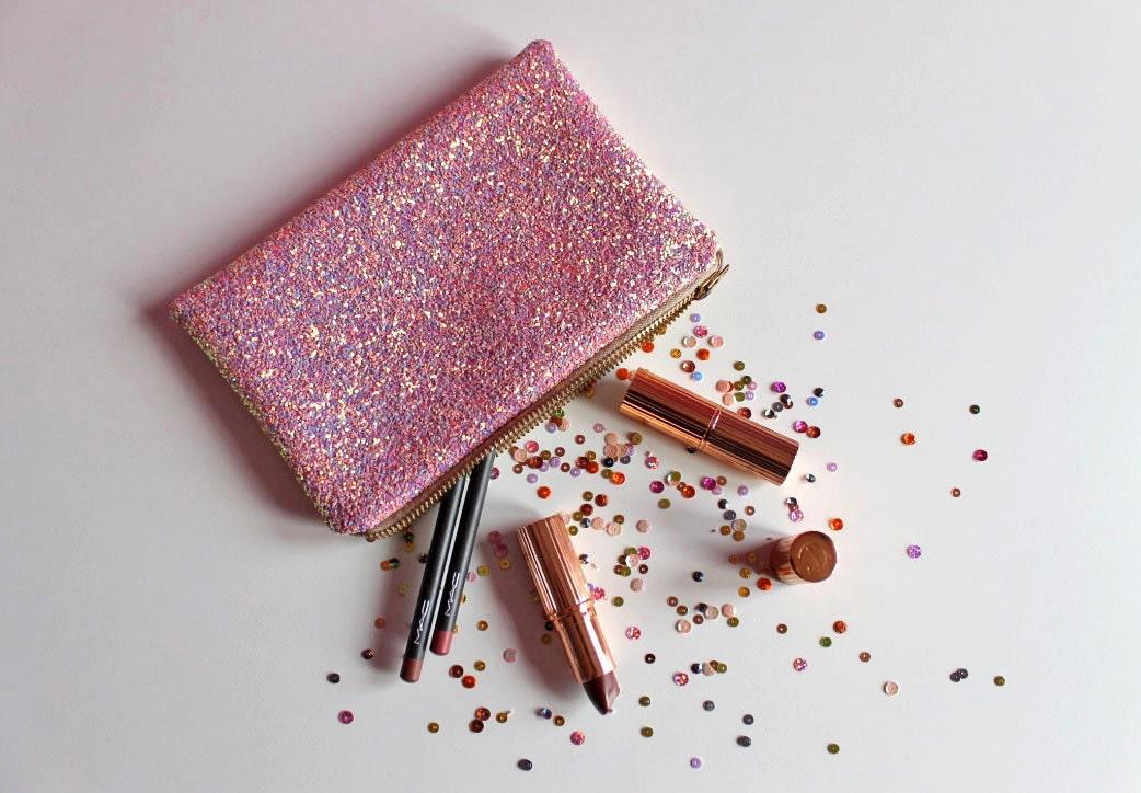 Bubblegum Pink Glitter Makeup Bag Light Pink Sparkly Bag