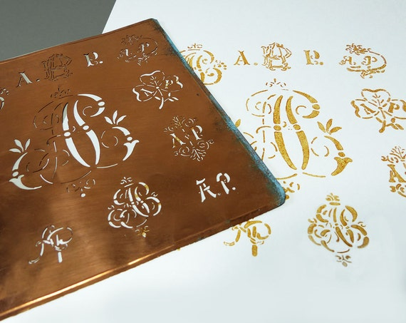 french monogram stencil choice of different letters initials