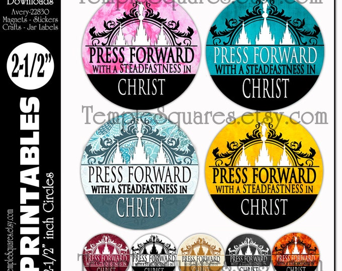 PRINTABLE YW Young Women or Relief Society Press Forward large circles great for birthday gift tags, crafts, jar labels fits Avery