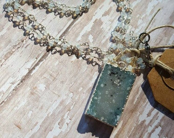 Speckled Blue Celestine - Druzy - Drusy - Clear Quartz - Rosary Chain - Silver Necklace - Boho Jewelry - Hippie Jewelry - Hipster Jewelry