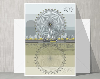 Architectural Blank Card - London Eye