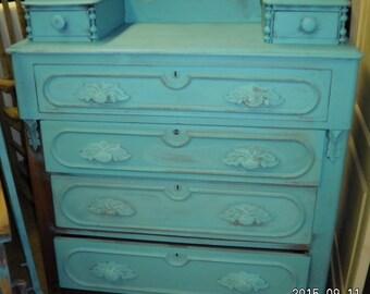 Aqua blue vintage dresser