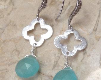 Turquoise Blue Chalcedony Drop Earrings~Work Earrings,Wedding Earring,Charleston Earring,Bridesmaid Earring,Bridesmaid Gift