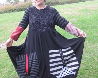 Upcycled reconstructed lagenlook balloon dress