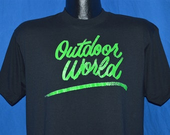 80s Outdoor World Neon Green Cursive Script t-shirt Large