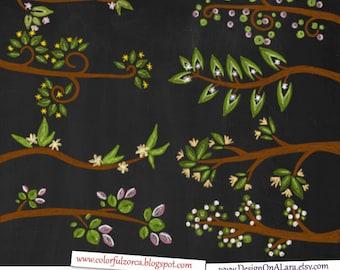 Chalk Blossom Branches Clipart, Chalk Spring Tree Clip Art, Blossom Tree chalk overlays, Colorful Cherry Blossom Digital Branch
