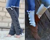 Charcoal grey Boot sock button Women legwarmer warmer slouchy with lace trim