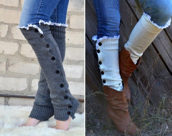 Charcoal grey Boot sock button Women legwarmer warmer slouchy with lace trim