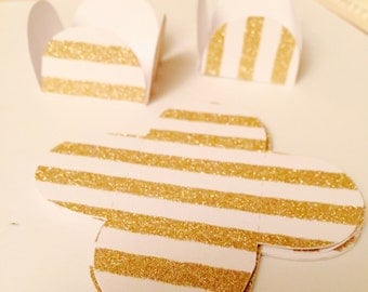 12 Strips Glitter Gold/White Cake Ball - Cake Pop - Chocolate truffle wrapper papers, liners or favor box.