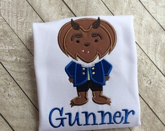 Beast applique shirt-beauty and the beast shirt-boy applique shirt-prince shirt