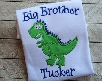 Big brother dinosaur shirt-Dinosaur applique shirt-big Brother shirt-Sibling shirt-Dinosaur Applique