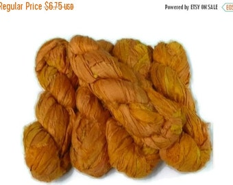 SALE 50g Recycled Sari Silk Ribbon, SAFFRON