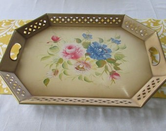 Serving Tray Nashco Products Vintage Large Hand Painted Metal Floral Flowered Gold Trim Signed Francis 1950s Cream Pink Blue Green