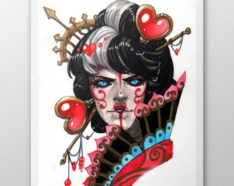 ART PRINT - Red Queen - A4 and A6 size.