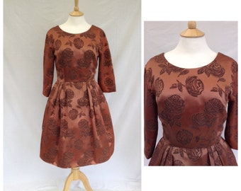 1950s Dress, Copper Satin, Party, Evening, Event, UK size 10-12, US size 8-10.