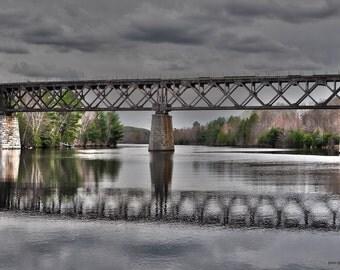 River Bridge Photo, Menominee River Landscape Photo, Train Track Bridge Photography, Old Walking Bridge Michigamme Wisconsin border Bridge