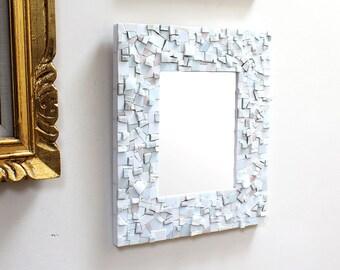Mosaic White Wall Mirror, Decorative Bathroom or Foyer Mirror
