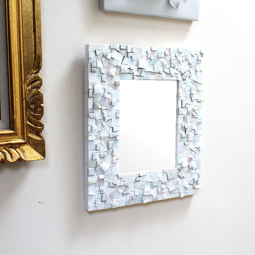 Mosaic white wall mirror decorative bathroom or foyer mirror for Fancy white mirror