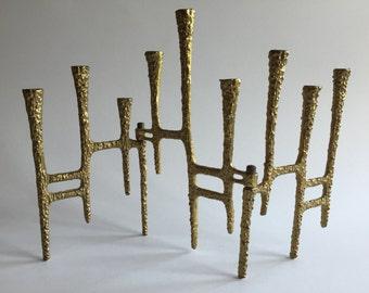 Mid-Century Brutalist Folding Brass Menorah, Jerusalem, Hanukah