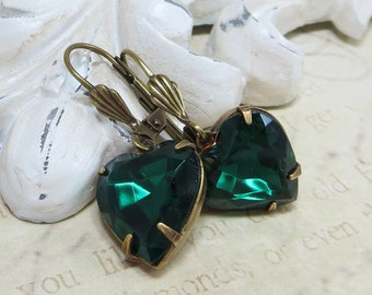 Emerald Green Heart Earrings Green Heart Ear Dangles Glass Jewel Earrings Victorian Downton Abbey May Birthstone
