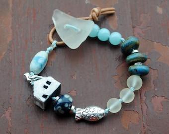 House on the Baltic shore - OOAK Bracelet, Gypsy Bracelet, Bohemian , sea glass ,Lampwork Assemblage Bracelet, Artisan ceramic bracelet