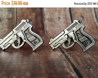 Christmas In July Sale Handgun Cufflinks- Mens Cuff links with a Gift Box - Groomsman, Gun, firearm, pistol, NRA