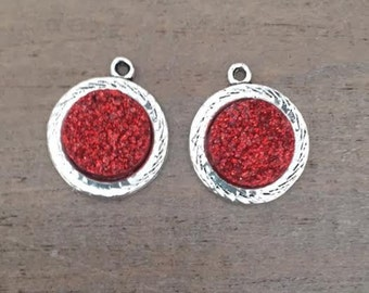 2 Red Druzy Charms, silver druzy charms, earring charms, DIY