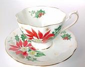 Queen Anne Tea Cup Saucer Bone China England Christmas Poinsettia