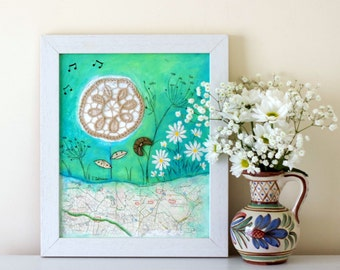 Whimsical Painting, Folk Art, Rustic Style Artwork, Framed Shabby Chic Painting, Doily Art, Mixed Media Painting, Evening Meadow