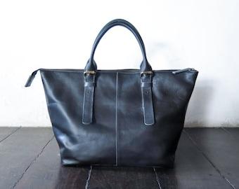 Leather shoulder Bag, CarryAll, Laptop, MacBook, Shopping Bag - Handmade Genuine soft cow Leather - Black