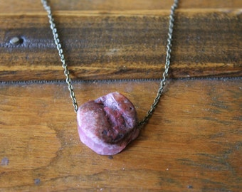 Energy Channel Pink Raw Agate Crystal Healing Necklace
