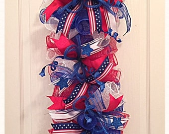 Patriotic Red White and Blue Deco Mesh Swag/4th of July Swag/Red White and Blue Swag/Memorial Swag/Patriotic Swag/Labor Day Swag