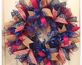 Americana Patriotic Deco Mesh Wreath/Vintage Patriotic Wreath/4th of July Wreath/Memorial Day Wreath/Americana Wreath/Burgundy