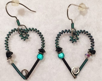 Wire and bead black and teal heart shaped earrings