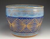 Geometric planter, blue sgraffito planter, stoneware planter, wheel thrown bowl, geometric pottery