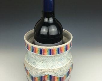 White geometric carved ceramic vase, pottery wine chiller, rainbow home decor,rainbow pattern pottery, colorful pottery vase