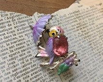 Vintage Figural Bird Brooch - Kitschy Jewelry Rhinestones Plastic Bright Colors Jelly Belly type