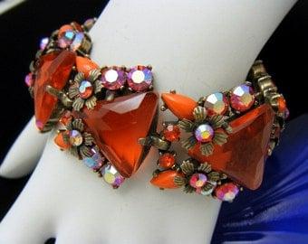 Unsigned Selro Vintage Bracelet Rare Orange Acrylic AB Rhinestones Fabulous