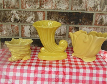 Yellow Pottery Planters