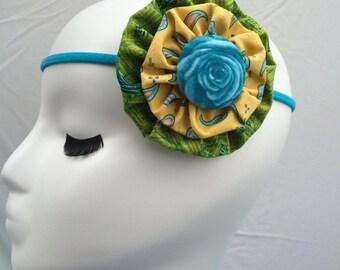 Fabric flower headband-victorian headband-head wrap-hair accessory-head dress-elastic headband-adult headband-childs headband-fabric flower