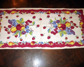 Vintage Table Runner 33 x 14 Fruit Pattern Red Cherries Apples Grapes Pears Cotton Nice