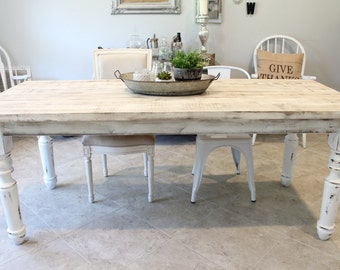Custom Farm Table - Rustic Farm table with knotty pine spindle legs