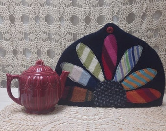 Colorful upcycled-recycled wool tea cozy
