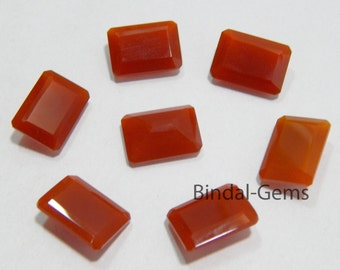 15 Pieces Beautiful Wholesale Lot Red Onyx Octagon Shape Faceted Cut Gemstone For Jewelry