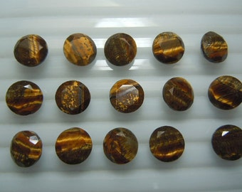 25 Pieces Lot Natural Golden Tiger Eye Round Shape Faceted Cut Gemstone
