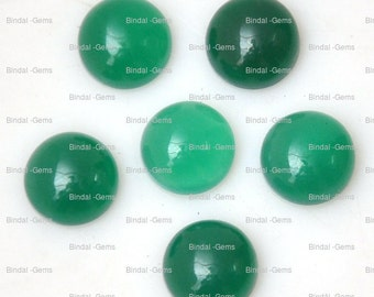 25 Pieces Wholesale Lot Wonderful Green Onyx Round Shape Cabochon Gemstone For Jewelery