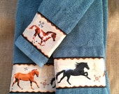 Running Horse Towel Set - Southwest motif in Trout Stream Teal