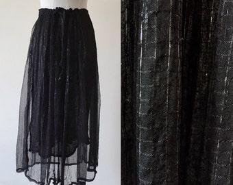 vintage festival skirt // black metallic skirt // vintage skirt // vintage maxi skirt