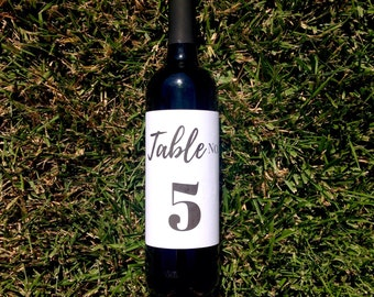 Calligraphy Wine Table Number   Wine Bottle Table Number   Wedding Wine Bottle Label Table Number - Centerpiece Event Gala Table No